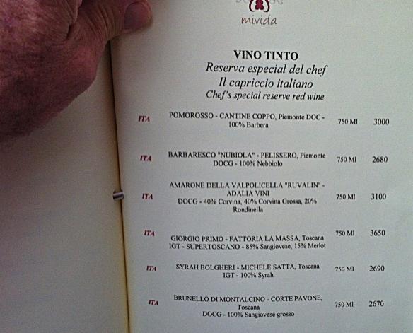 mivida wine list