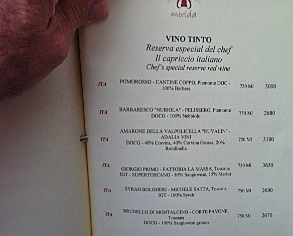 mivida wine list