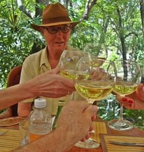 puertecita toasting with wine