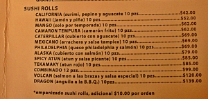 cafe california sushi menu