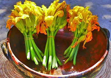 squash blossom in bowl