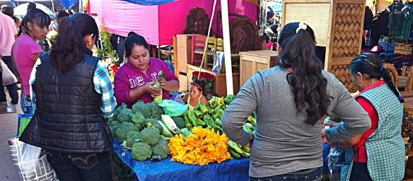 squash blossom market stall