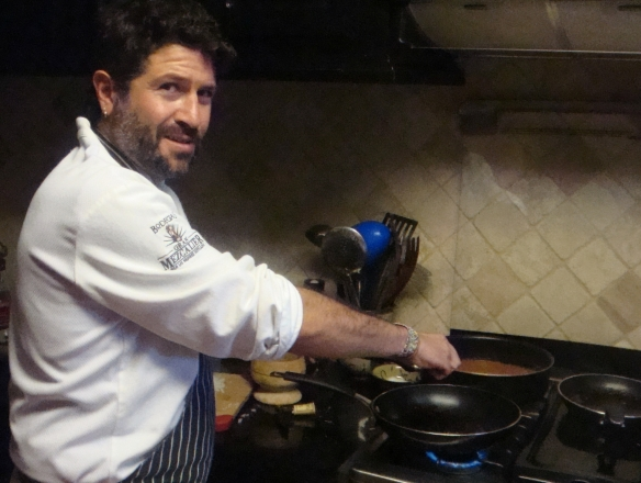 julian garcia at stove with peppers