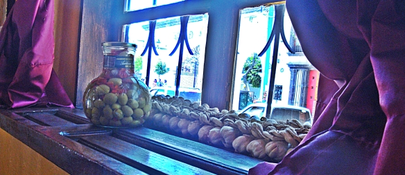 antigua olives on window sill